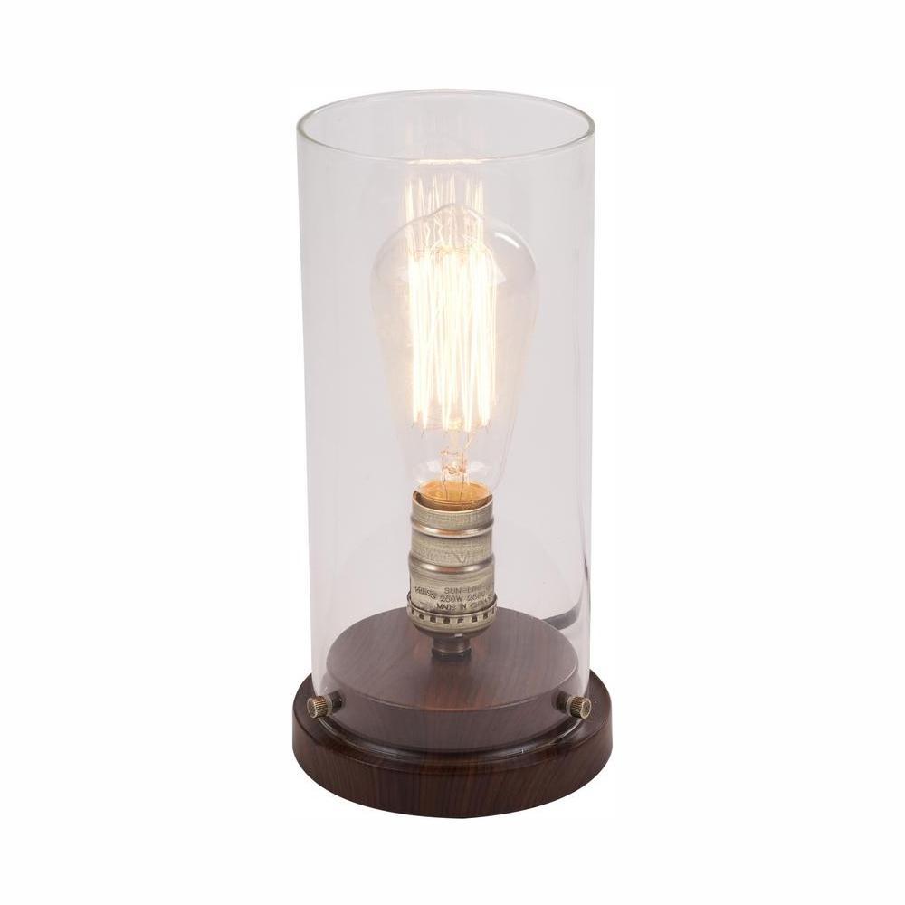 hamptonbay Hampton Bay 10 in. LED Faux Wood Vintage Uplight Lamp