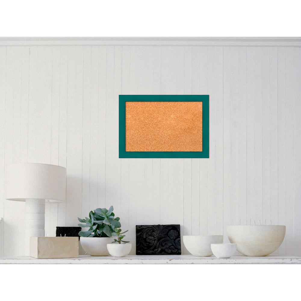 Amanti Art French Teal Rustic Wood 20 in. W x 14 in. H Framed Cork ...