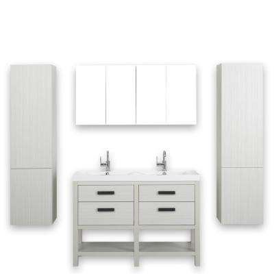 47.2 in. W x 32.4 in. H Bath Vanity in Ash Gray with Resin Vanity Top in White with White Basin and Mirror