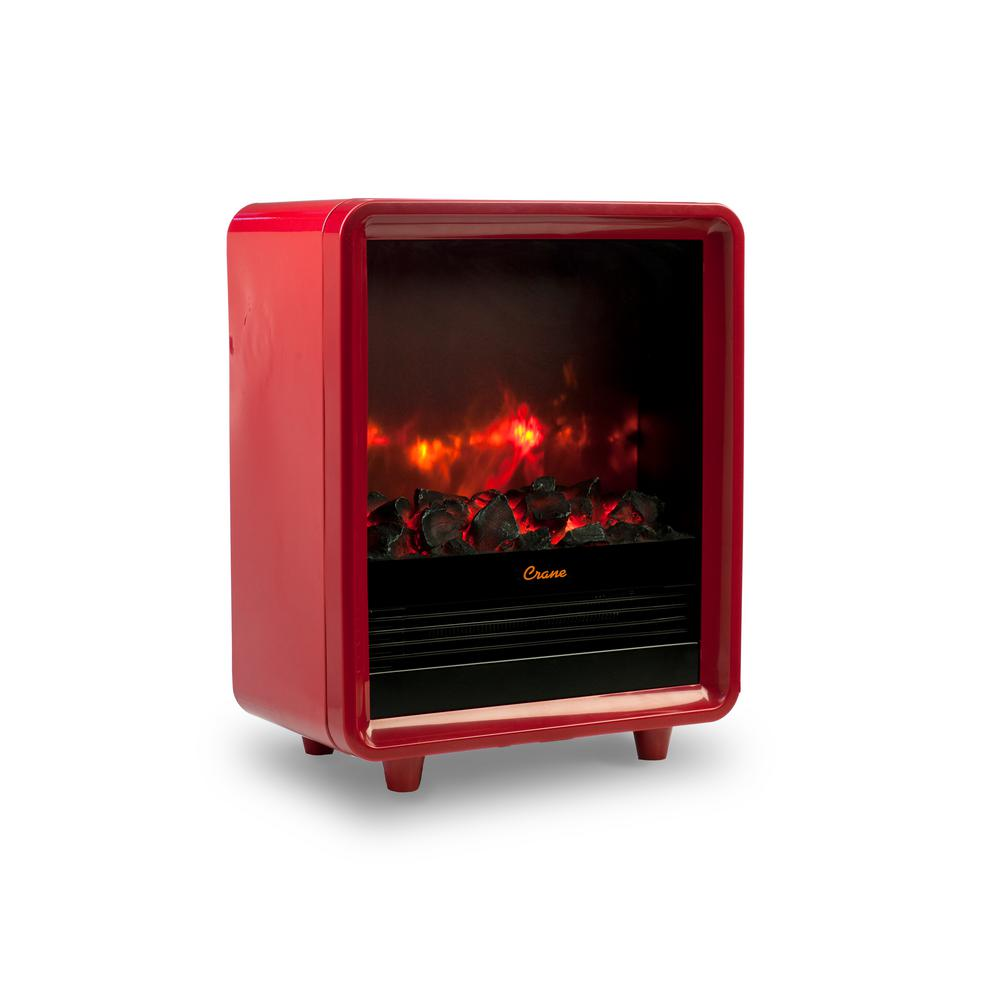Crane 1500-Watt Mini Fireplace Radiant Electric Portable Heater - Red