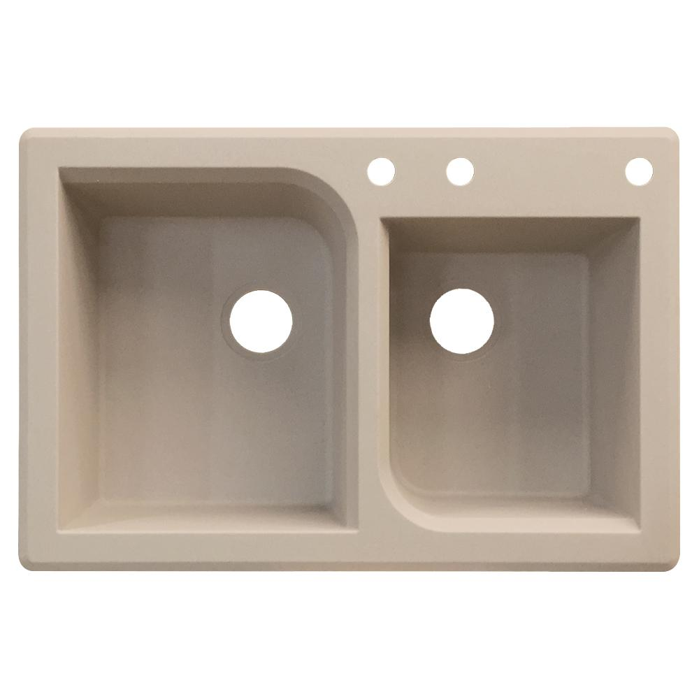Kitchen Sink Offset From Window: Transolid Radius Drop-in Granite 33 In. 3-Hole 1-3/4