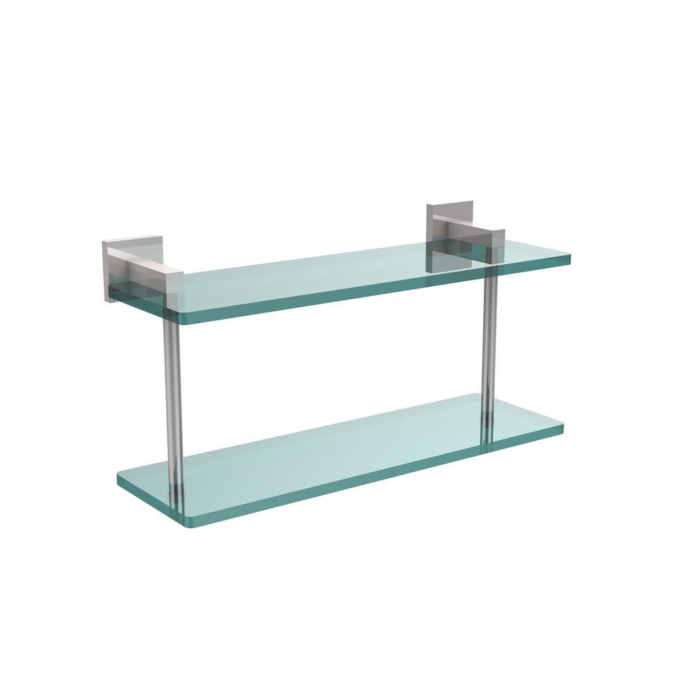 Montero 16 in. L  x 8-1/4 in. H  x 5-3/4 in. W 2-Tier Clear Glass Bathroom Shelf in Polished Chrome