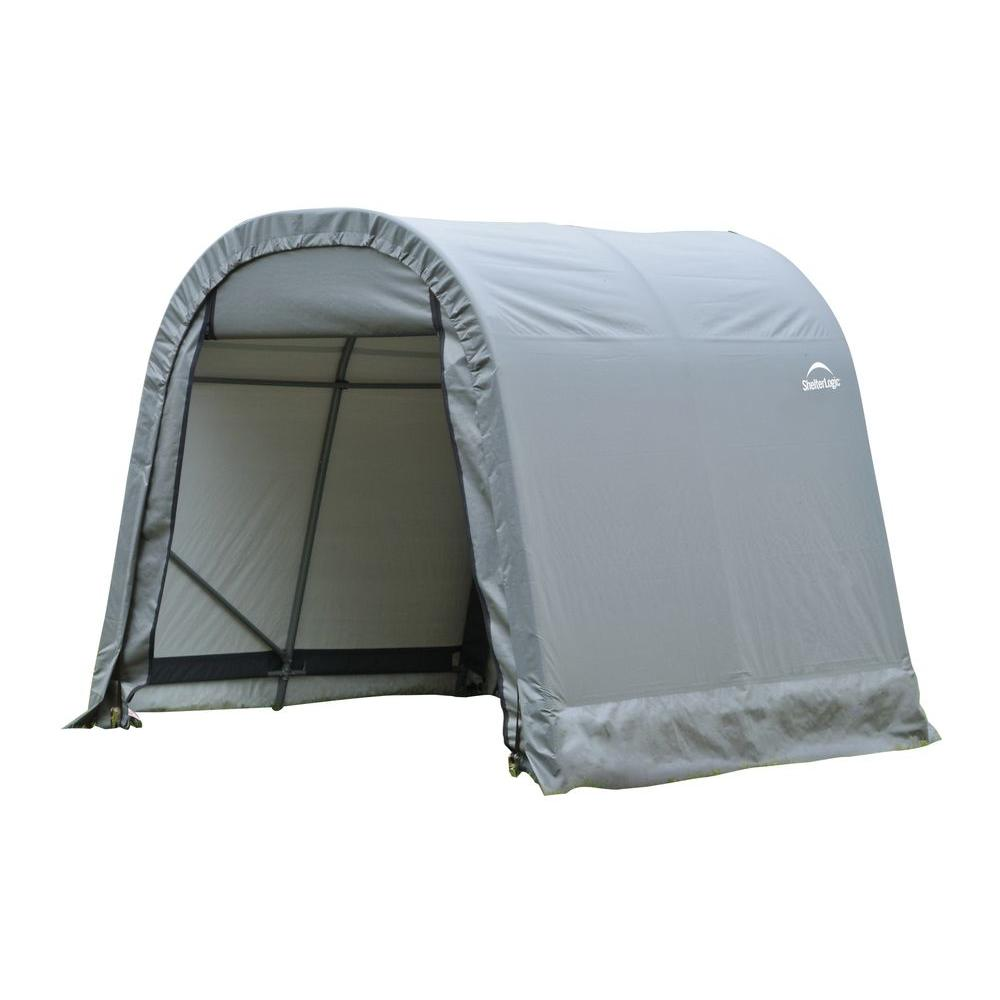 Shelterlogic Sheltercoat 8 Ft X 12 Ft Wind And Snow Rated Garage Round Gray Std 76813 0 The Home Depot