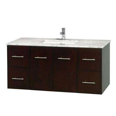 Centra 48 in. Vanity in Espresso with Marble Vanity Top in Carrara White and Undermount Sink