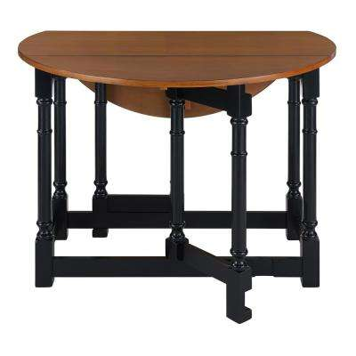 Challa 1-Piece Black Drop-Leaf Dining Table