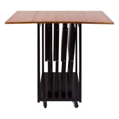 Mission Oak Espresso Drop Leaf Table with TV Tray