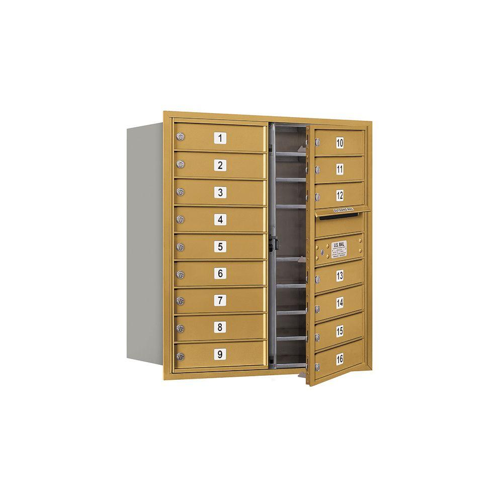 Salsbury Industries 3700 Series 34 in. 9 Door High Unit Gold Private Front Loading 4C Horizontal Mailbox with 16 MB1 Doors