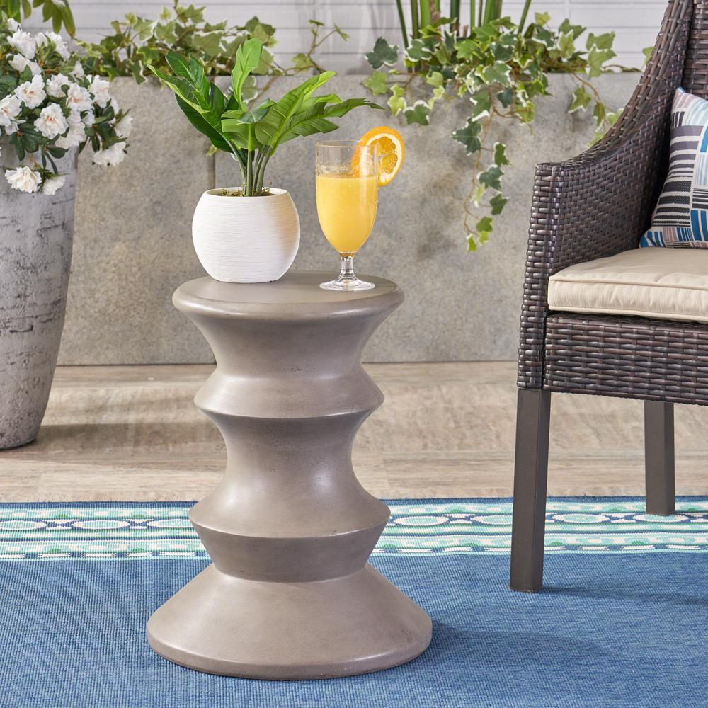 Eureka Light Grey Stone Outdoor Side Table