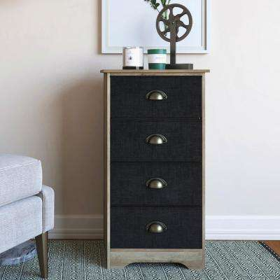Calvin 4-Drawer Antique Gray Wood Dresser with Black Fabric and Brass Metal Handle