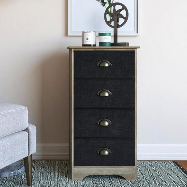 6abaf7b6a8f Calvin 4-Drawer Antique Gray Wood Dresser with Black Fabric and Brass Metal  Handle
