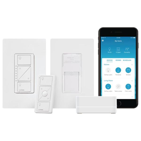 Caseta Wireless Smart Lighting Dimmer Switch and Pico Wall-Mounting Starter Kit in White