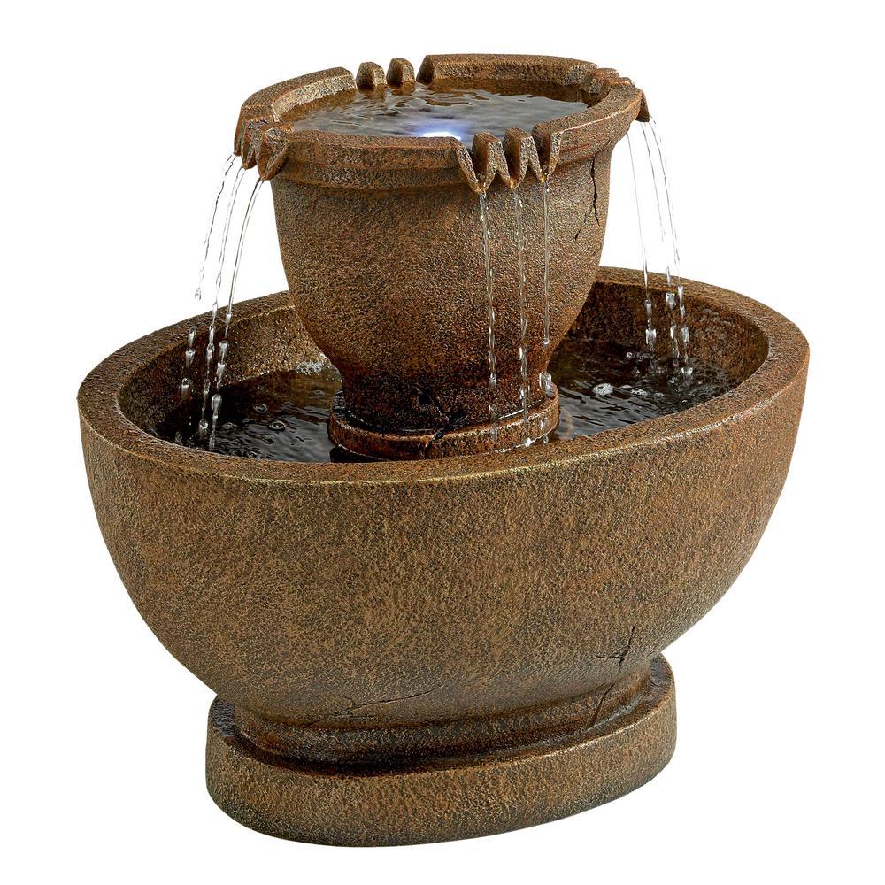 Richardson Oval Urns Cascading Grande Stone Bonded Resin Garden Fountain