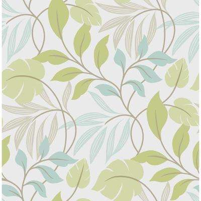 Multi Color Blue and Green Meadow Wallpaper
