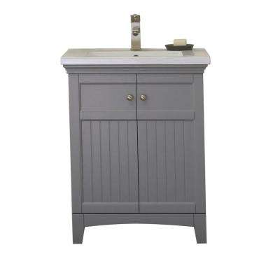 24 in. Vanity in Gray with 1.5 in. Porcelain Vanity Top in White with White Basin - WLF7016-G