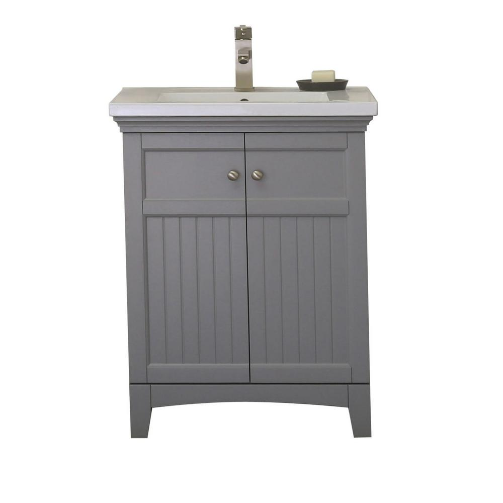 Vanity In Gray With 1 5 Porcelain Top White