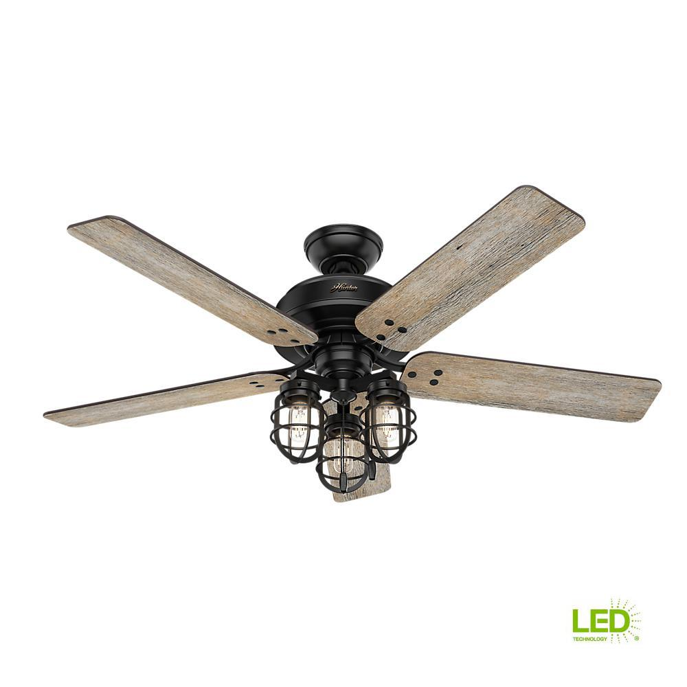 hunter port isabel 52 in led indoor outdoor matte black ceiling fan with light kit 53420 the. Black Bedroom Furniture Sets. Home Design Ideas