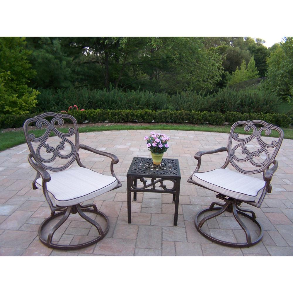 Pacifica 3-Piece Aluminum Outdoor Bistro Set with Tan Cushions