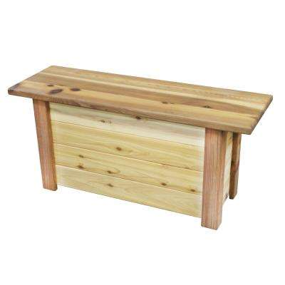 15 in. x 46 in. x 21 in. White Oak Storage Bench / Toy Box Natural Finish Wood Outdoor Bench