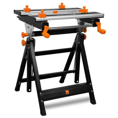 2 ft. H Adjustable Tilting Steel Portable Workbench and Vise with 8 Sliding Clamps