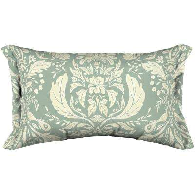 Artisans 12 in. x 20 in. Pietro Damask Lumbar Throw Pillow with Side Flange