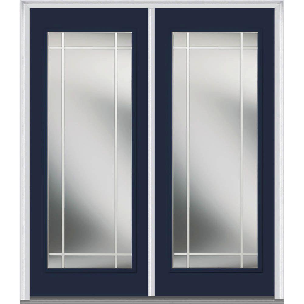 60 in. x 80 in. Prairie Internal Muntins Left-Hand Full Lite Classic Painted Steel Prehung Front Door