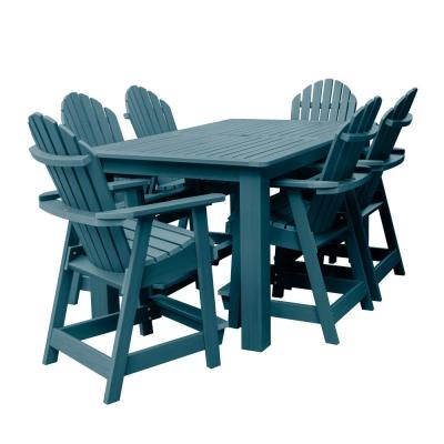 Hamilton Nantucket Blue 7-Piece Recycled Plastic Rectangular Outdoor Balcony Height Dining Set