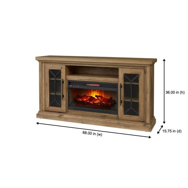 Home Decorators Collection Madison 68 In Media Console Infrared Electric Fireplace In Natural Rustic Oak Hdfp68 47be The Home Depot