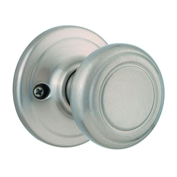Cameron Satin Nickel Half-Dummy Door Knob with Microban Antimicrobial Technology