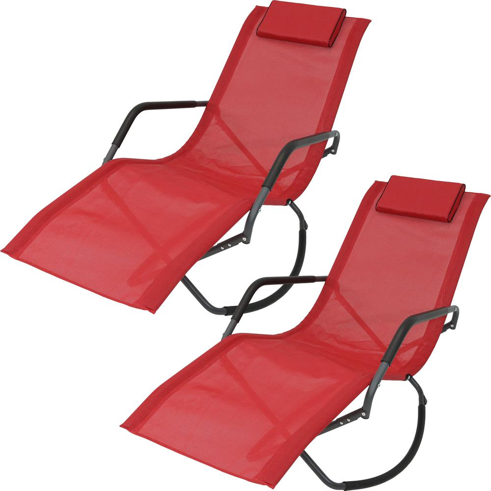 Marvelous Sunnydaze Decor Red Folding Rocking Sling Outdoor Lounge Chair With Pillow Set Of 2 Pabps2019 Chair Design Images Pabps2019Com