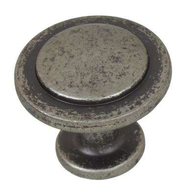 1-1/4 in. Dia Weathered Nickel Classic Round Ring Cabinet Knobs (10-Pack)