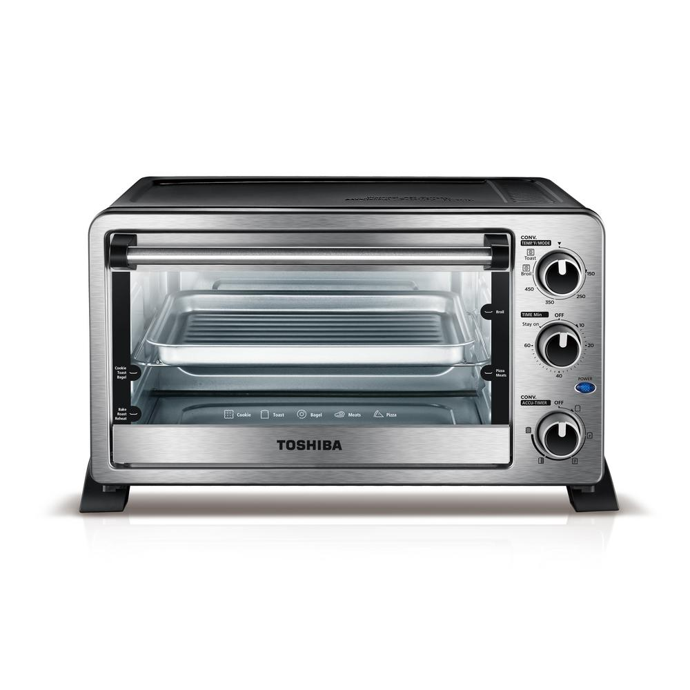 Toshiba Toshiba 1500 W 6-Slice Stainless Steel Convection Toaster Oven with Broiler, Silver