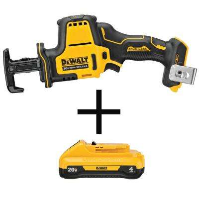 ATOMIC 20-Volt MAX Brushless Compact Reciprocating Saw (Tool-Only) with Bonus 20-Volt MAX Li-Ion 4.0 Ah Compact Battery