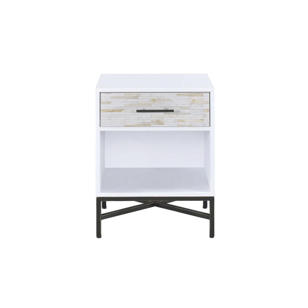 Acme Furniture Uma White and Black Nightstand 97450