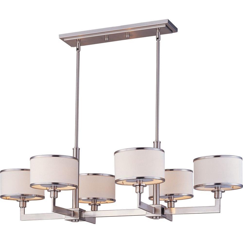 Maxim lighting nexus 6 light satin nickel chandelier 12057wtsn the maxim lighting nexus 6 light satin nickel chandelier mozeypictures Images