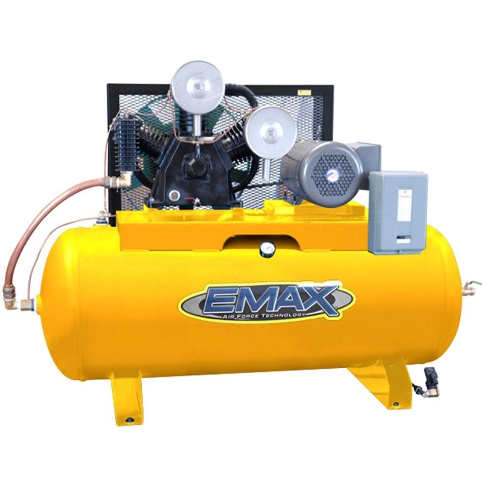 EMAX 120-Gal. 10 HP Quiet 640 RPM Piston Series 2-Stage 3-Phase Horizontal Air Compressor-DISCONTINUED