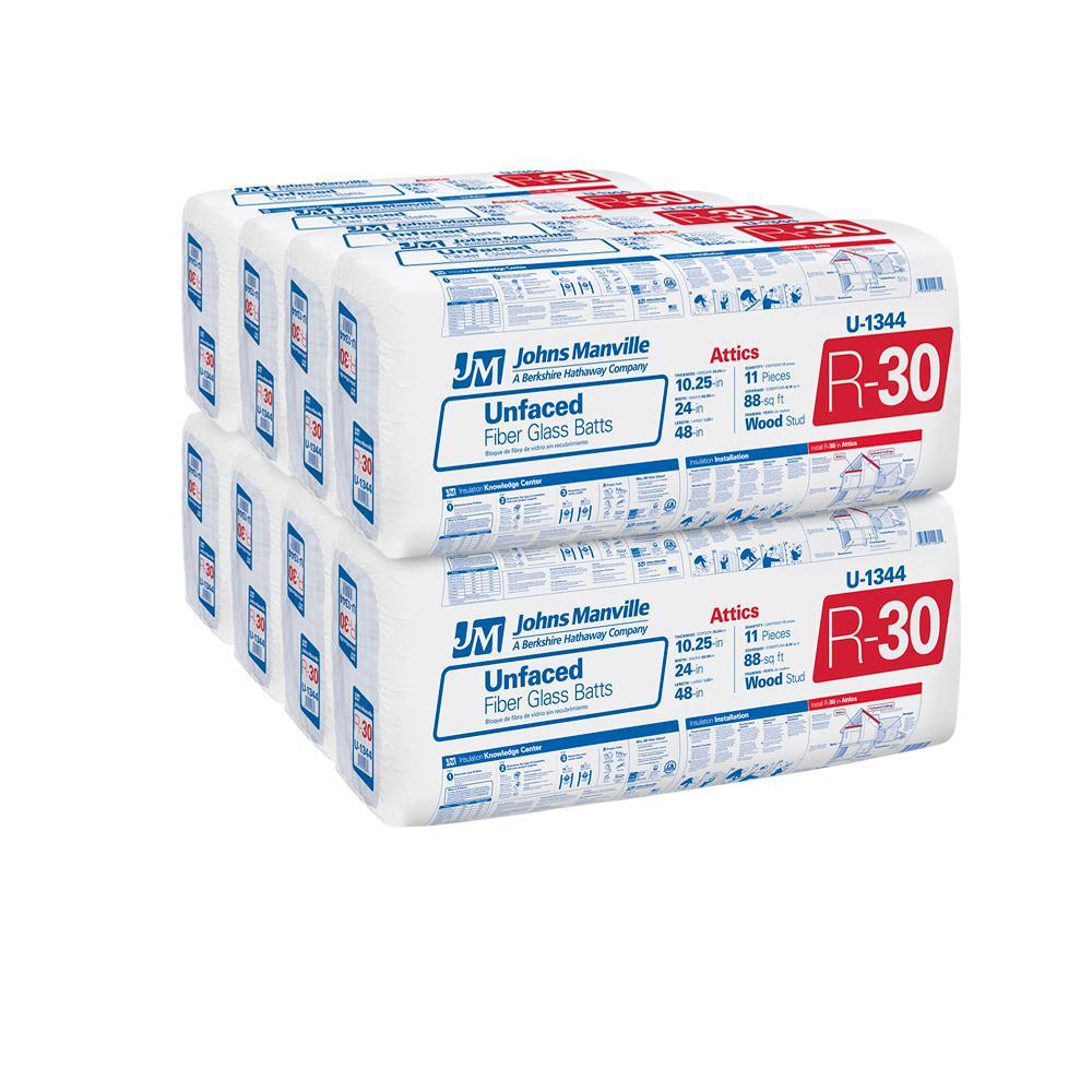 R-30 Unfaced Fiberglass Insulation Batt 24 in. x 48 in. (8-Bags)