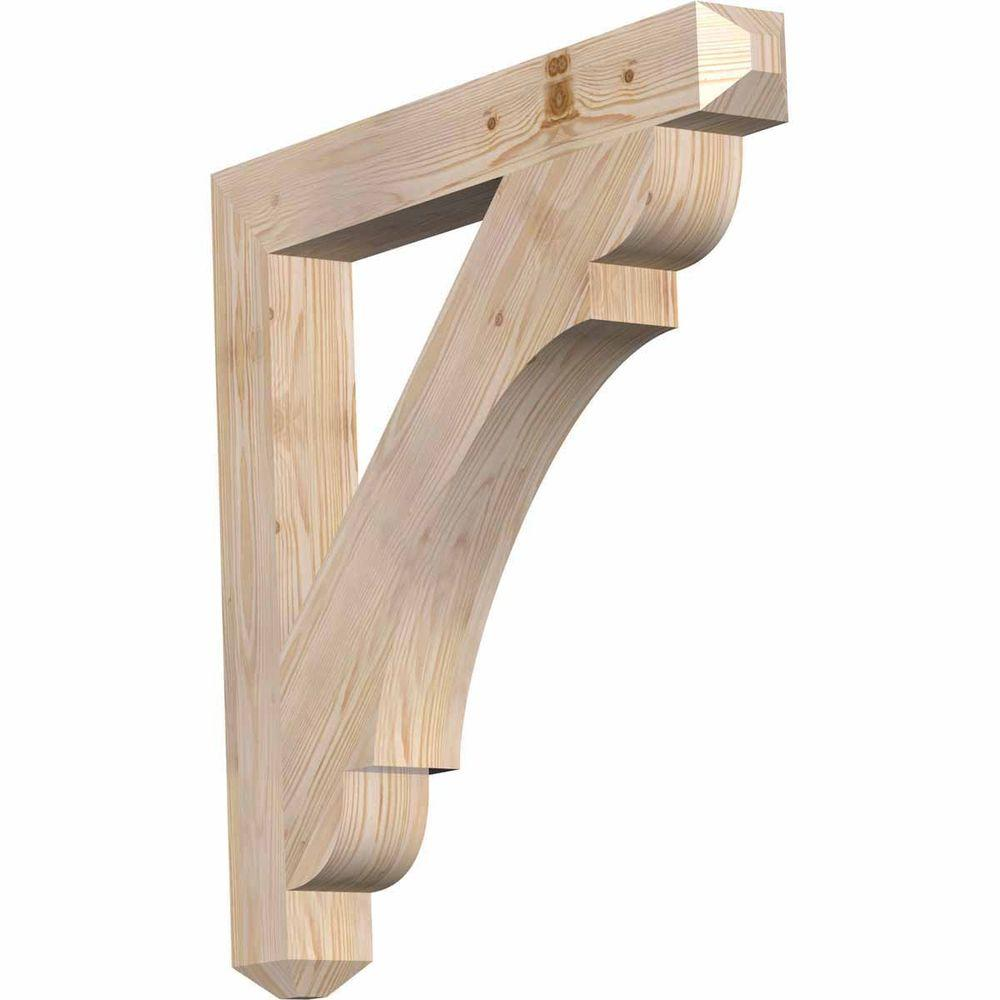 Ekena Millwork 3.5 in. x 30 in. x 30 in. Douglas Fir Olympic Craftsman Smooth Bracket