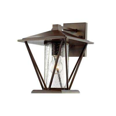 1-Light 12-1/4 in. High Powder Coated Bronze Outdoor Wall Sconce with Glass Shade