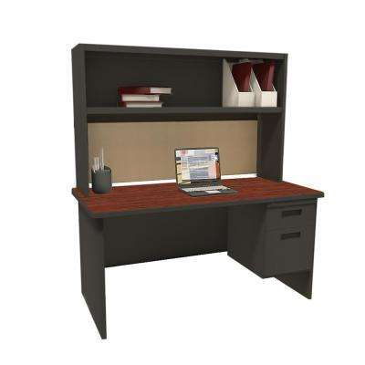 Dark Neutral Windblown 60 in. Single File Desk with Storage Shelf