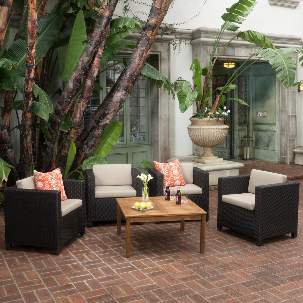 Puerta Dark Brown 5-Piece Wicker Patio Conversation Set with Beige Cushions
