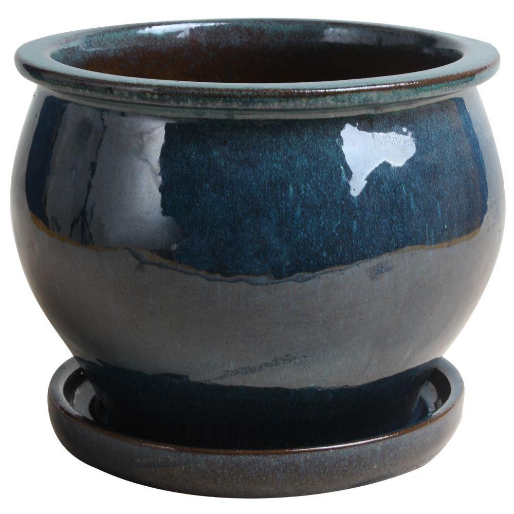 Trendspot 9 In Dia Ceramic Blue Studio Planter With