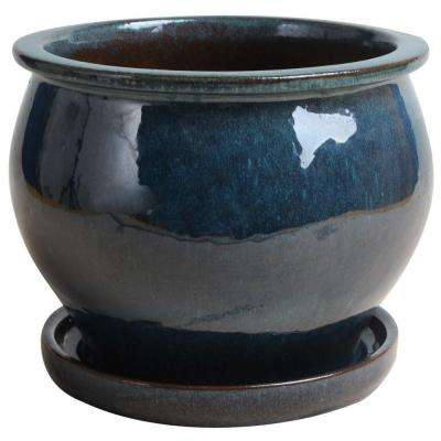 9 in. Dia Ceramic Blue Studio Planter with Attached Saucer