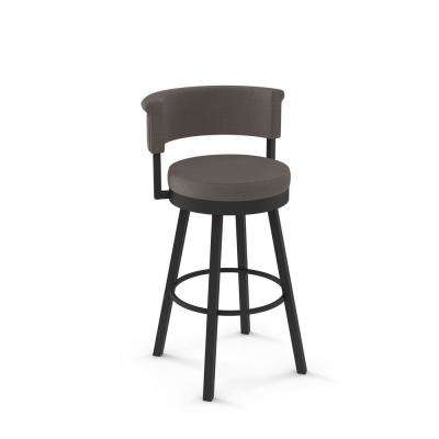 Rosco 30 in. Textured Dark Brown Metal Warm Medium Grey Polyester Barstool