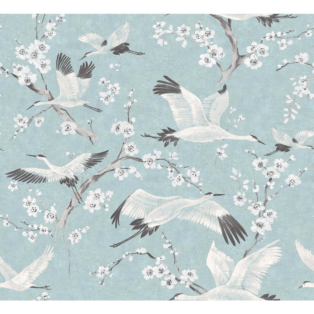 Airone Blue Crane Wallpaper