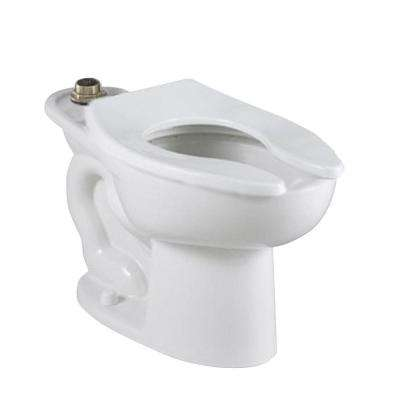 Madera FloWise 16-1/2 in. EverClean Slotted Rim Top Spud 4 Anchor Holes Elongated Flush Valve Toilet Bowl Only in White