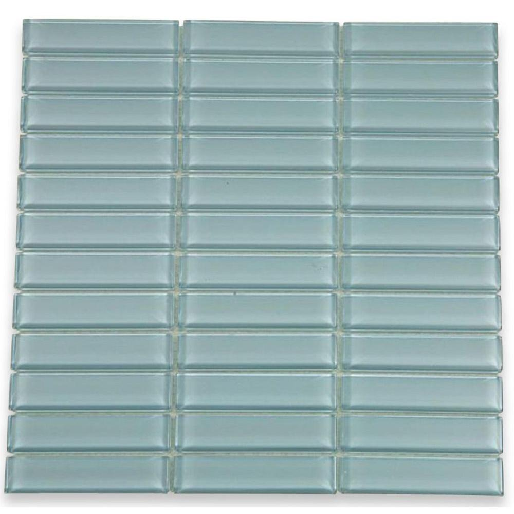 Splashback Tile Contempo Blue Gray 12 in. x 12 in. x 8 mm Polished Glass Floor and Wall Tile