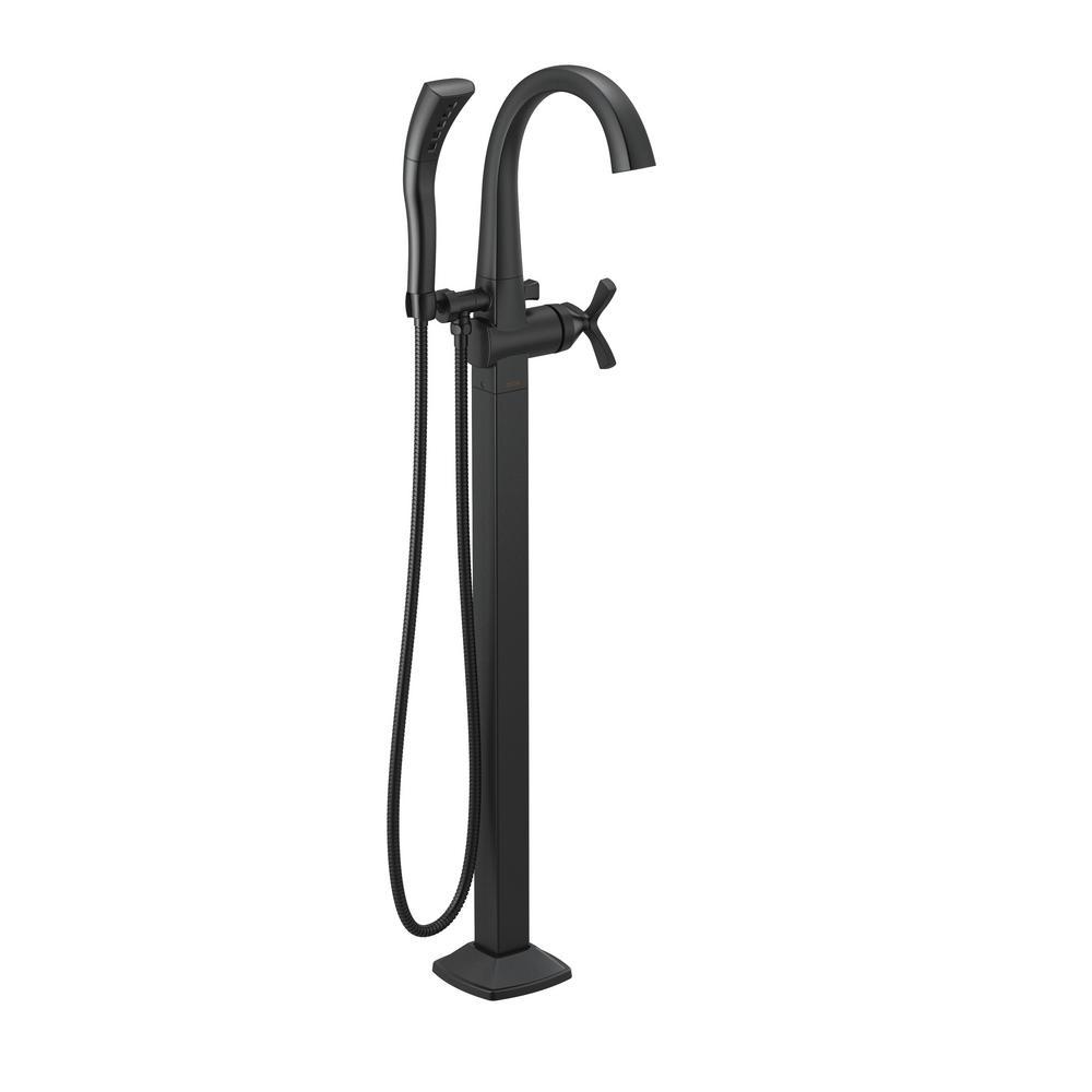 Stryke 1-Handle Floor Mount Tub Filler Trim Kit in Matte Black with Hand Shower (Valve Not Included)