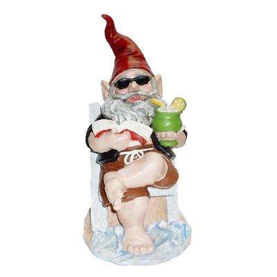 12 in. H Beach Bum Bubba The Beach Gnome in Beach Chair Reading a Book