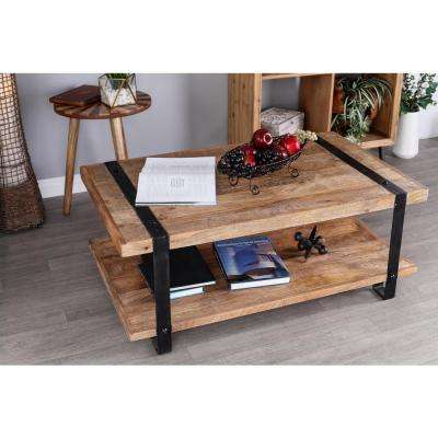 Stained Brown and Black Coffee Table