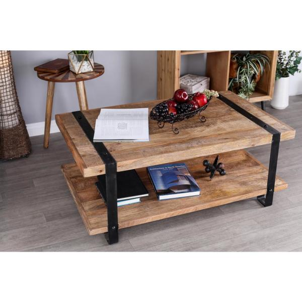 Litton Lane Stained Brown And Black Coffee Table